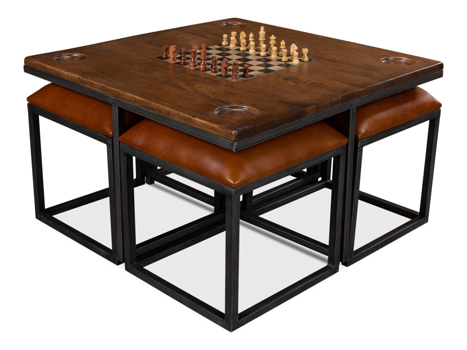 Low Game Table With Four Stools Sarreid Ltd Portal