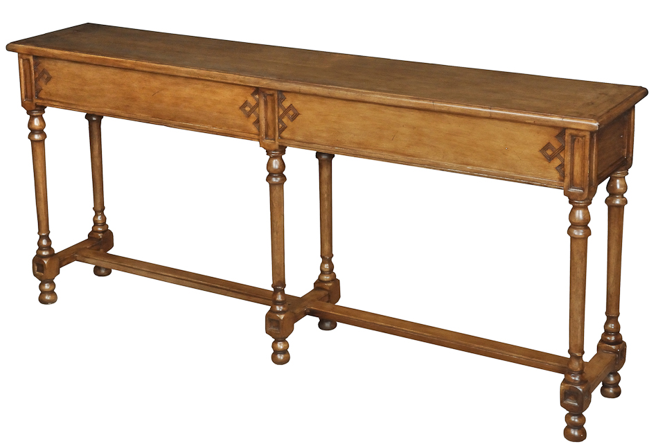 Console Sofa Table Solid Walnut Handmade Hidden Drawers 60