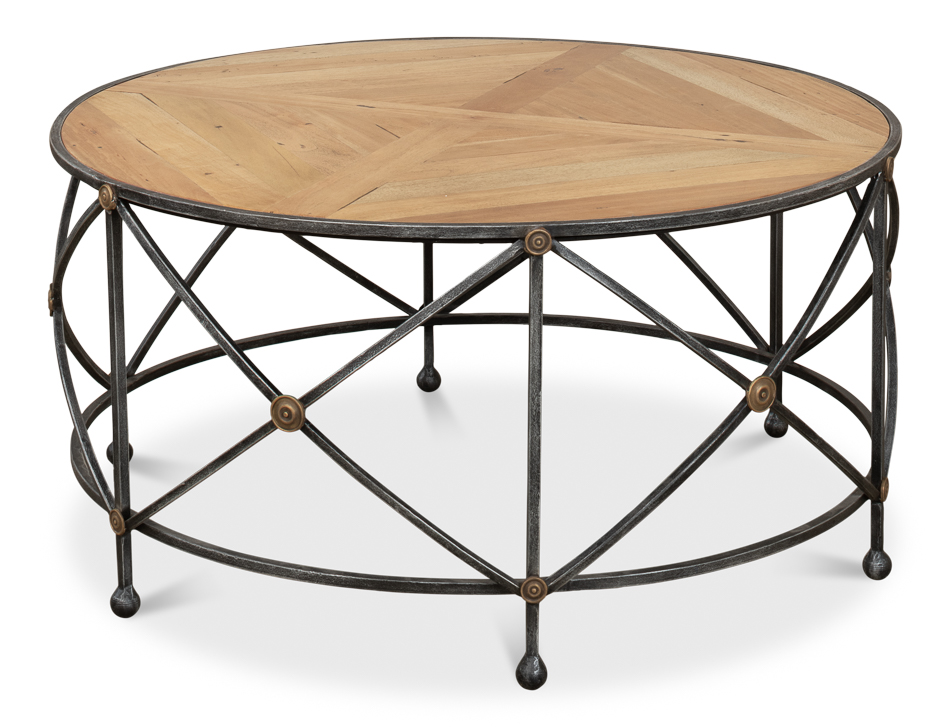 36 Round Cocktail Coffee Table Solid Walnut Wood Old Iron Frame Brass Details Ebay