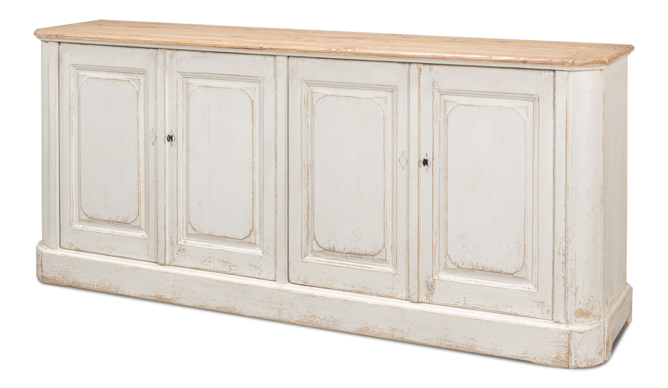 Antique White Wash Sideboard, 4 Door    _4
