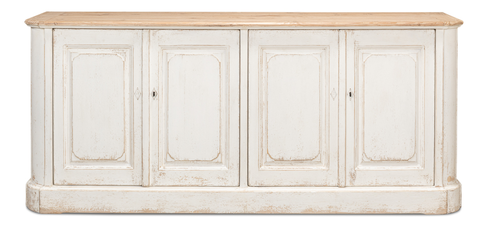 Antique White Wash Sideboard, 4 Door    _1