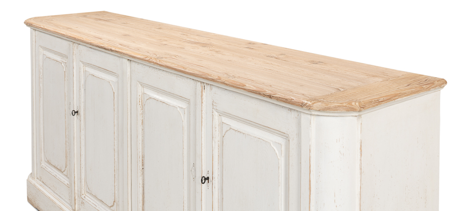 Antique White Wash Sideboard, 4 Door    _3