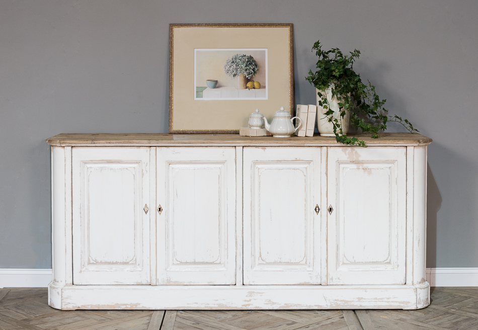 Antique White Wash Sideboard, 4 Door    _5