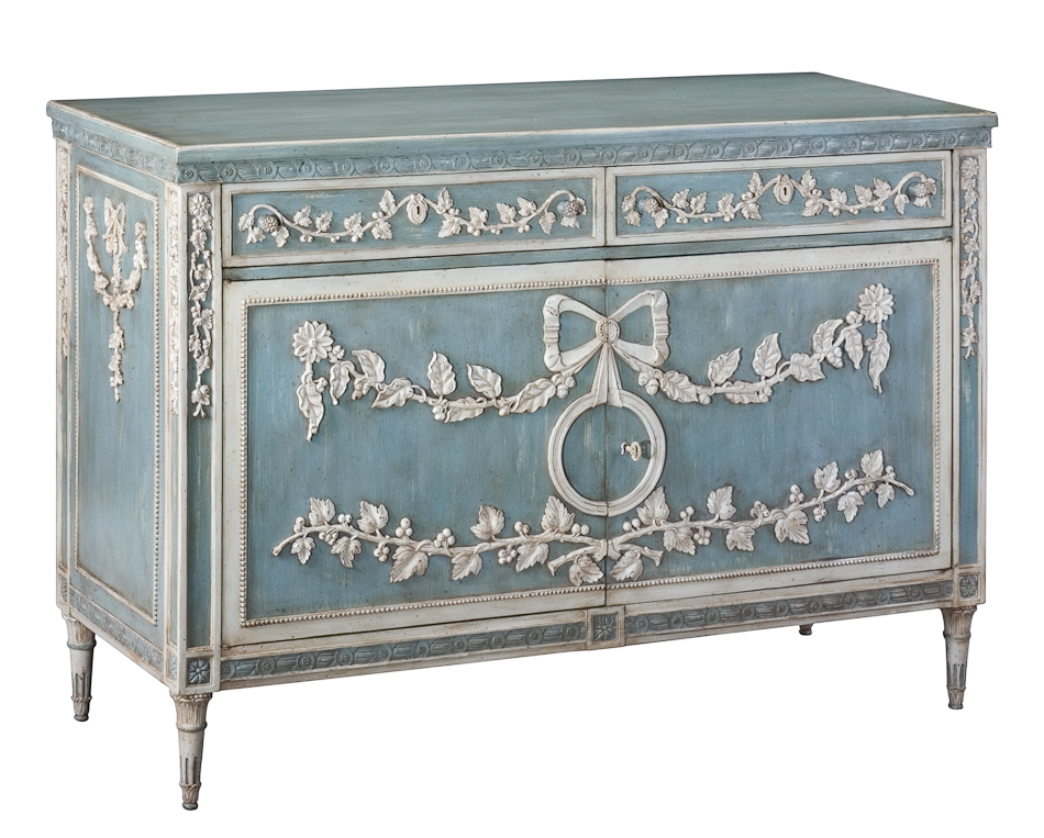 Sideboard Buffet Cabinet In Antique French Blue White Hand Carved Walnut New Ebay