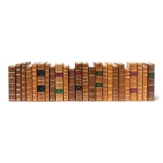 Faux Tan Leather Books  Set Of 24