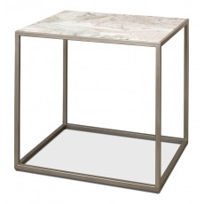 "Cube Side Table Marble Top 26"" High"