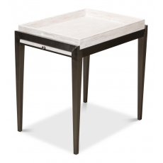 Chrysler Side Table, Whitewash White