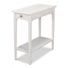 Chelsea End Table, Whitewash White Fnsh