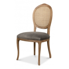 Oval Cane Back S/Chair, Drftwd,Charcoal