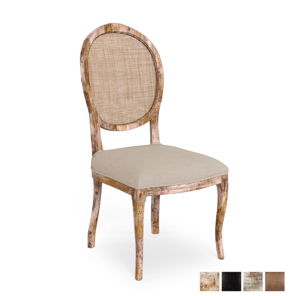 Oval Cane Back Side Chair Frame, Fabric